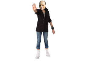 a person wearing a blazer, jeans and a baby face halloween costume on a white background