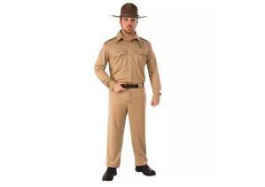 a man wearing a stranger things jim hopper halloween costume on a white background