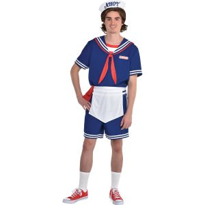 a man wearing a scoops ahoy halloween costume on a white background