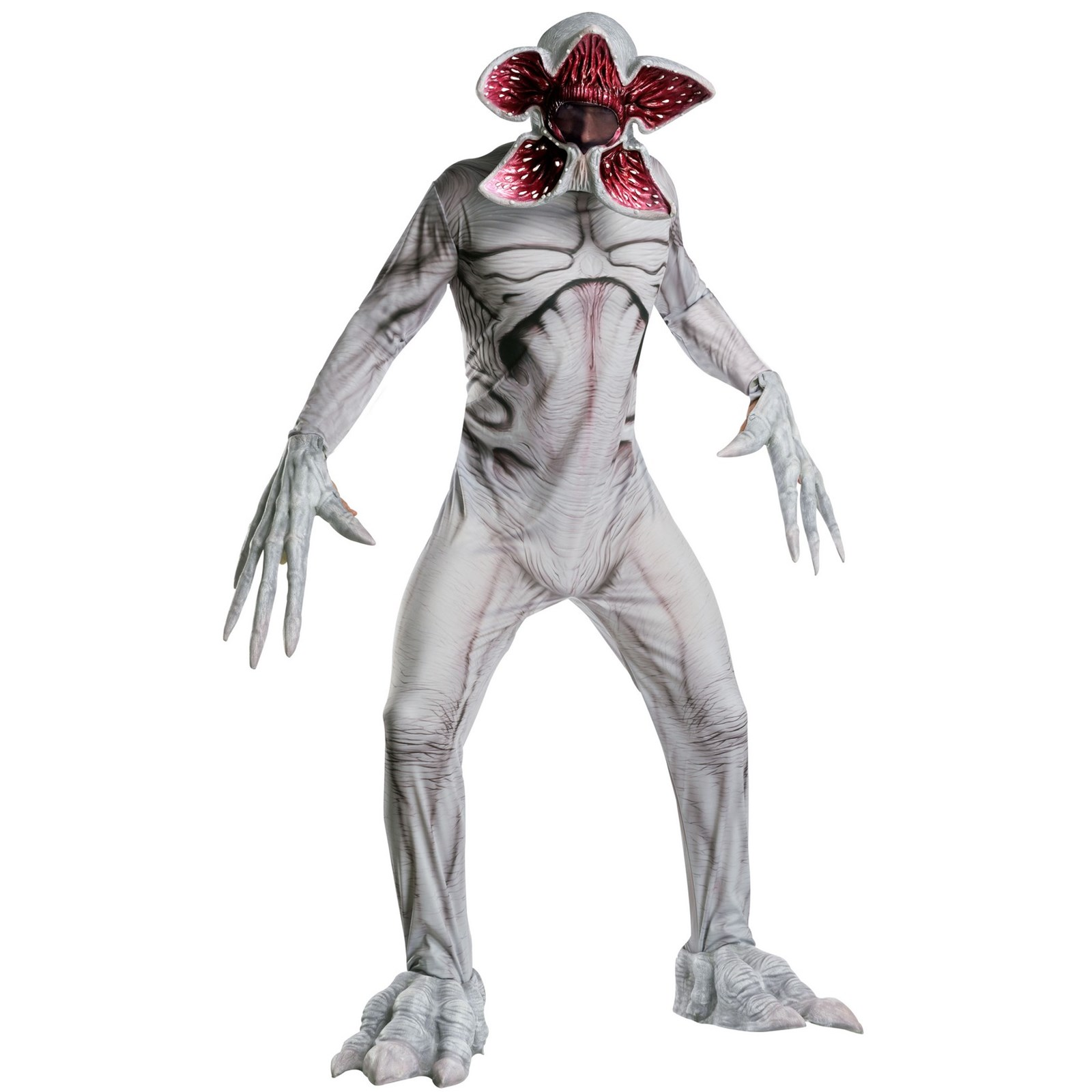 a man wearing a demogrogon from stranger things halloween costume on a white background
