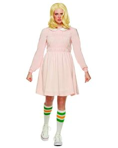 a woman wearing a pink dress and socks as an eleven halloween costume on a white background