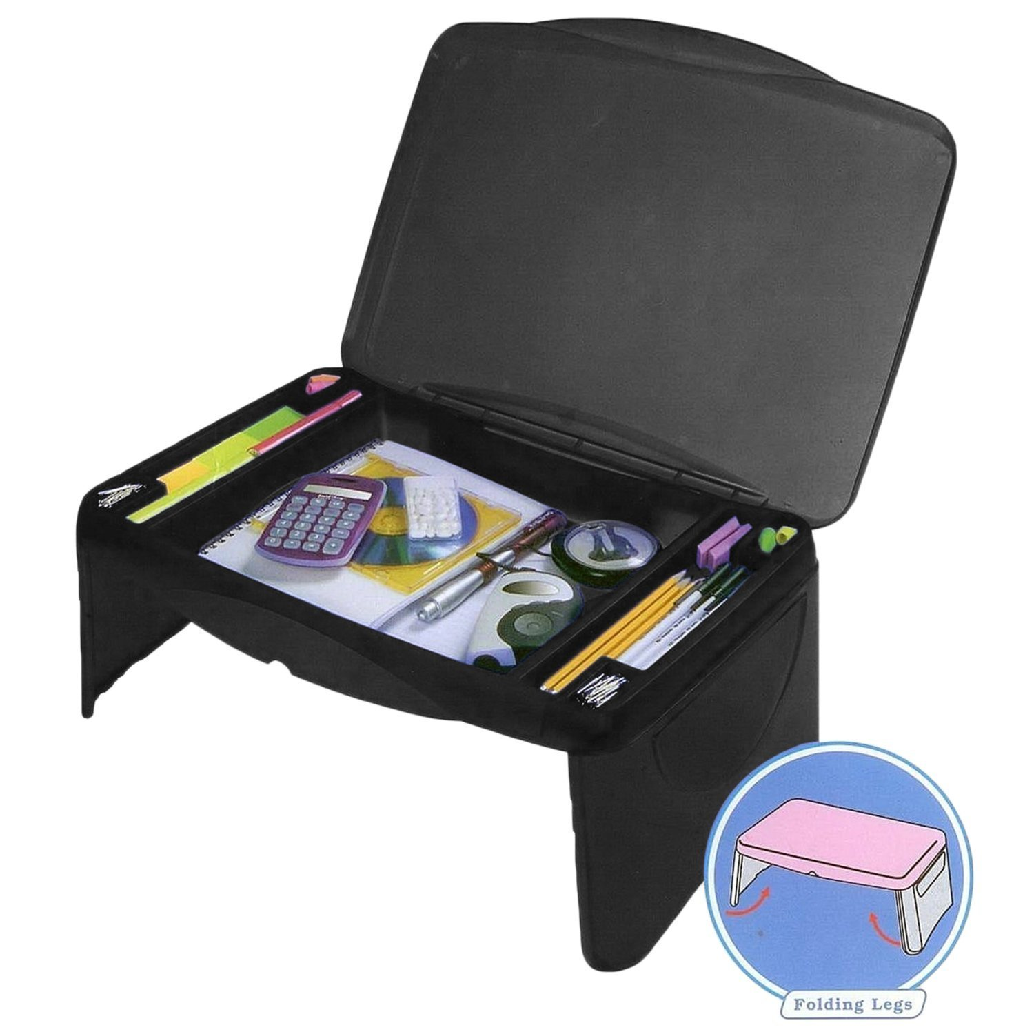 a plastic, black bed tray table with a hidden compartment holding stationary sitting on a flat surface on a white background