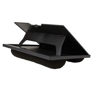 the mindreader bed tray table in black sitting on a flat surface on a white background