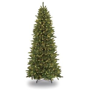 9 foot slim fraser fir artificial christmas tree on a white background