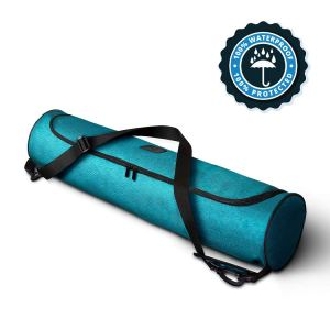 waterproof teal yoga mat bag on a white background