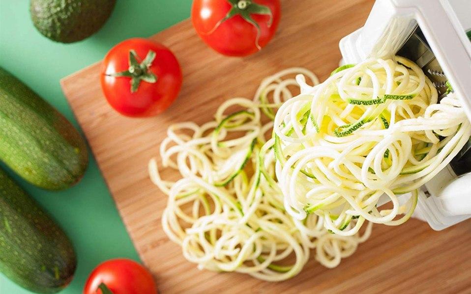 A zucchini noodle maker on a