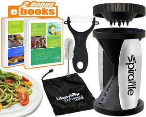 a spiralife, a peeler, a brush, two books, a carry bag and a plat of zucchini noodles on a white background.