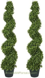 Arcadia Silk Plantation Spiral Boxwood Artificial Topiary Trees