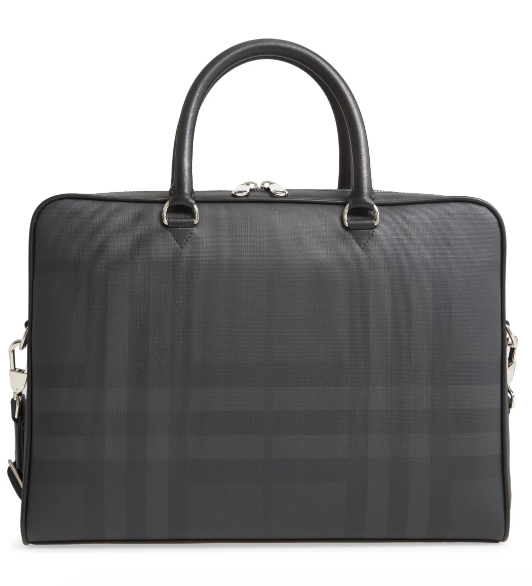 Burberry Ainsworth London Check Coated Canvas & Leather Briefcase
