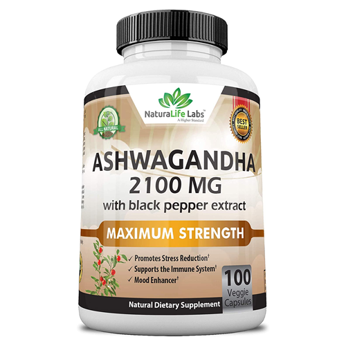 NaturaLife Labs Organic Ashwagandha Powder and Root Extract Supplement