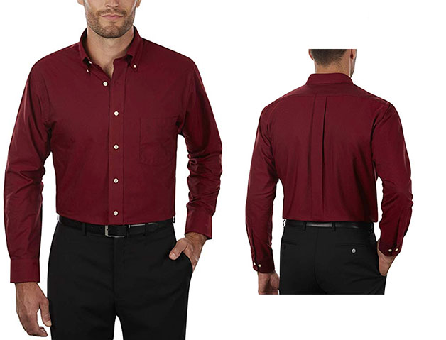 oxford shirt in burgundy color