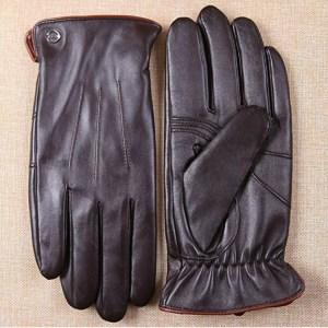 ELMA Luxury Men's Winter Leather Dress Gloves