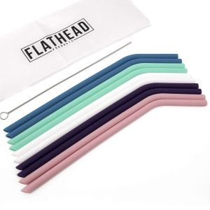 Flathead Products Regular Size Reusable Silicone Drinking Straws