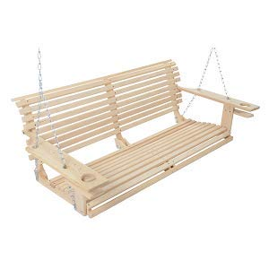 Handmade Cypress Porch Swing with Cupholders