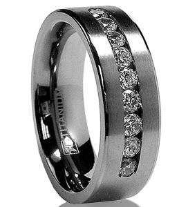 Metal Masters Co. Men's Titanium Ring with Channel Set Cubic Zirconia