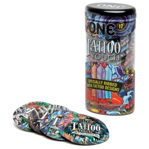 condoms for her pleasure one tattoo touch ribbed
