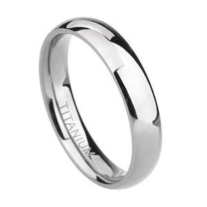 TIGRADE Titanium Ring Plain Dome High Polished Wedding Band