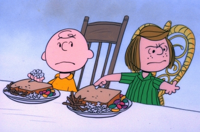 CHARLIE BROWN WORRIES AS PEPPECIINT PATTY COMPLAINS ABOUT THE MEAL