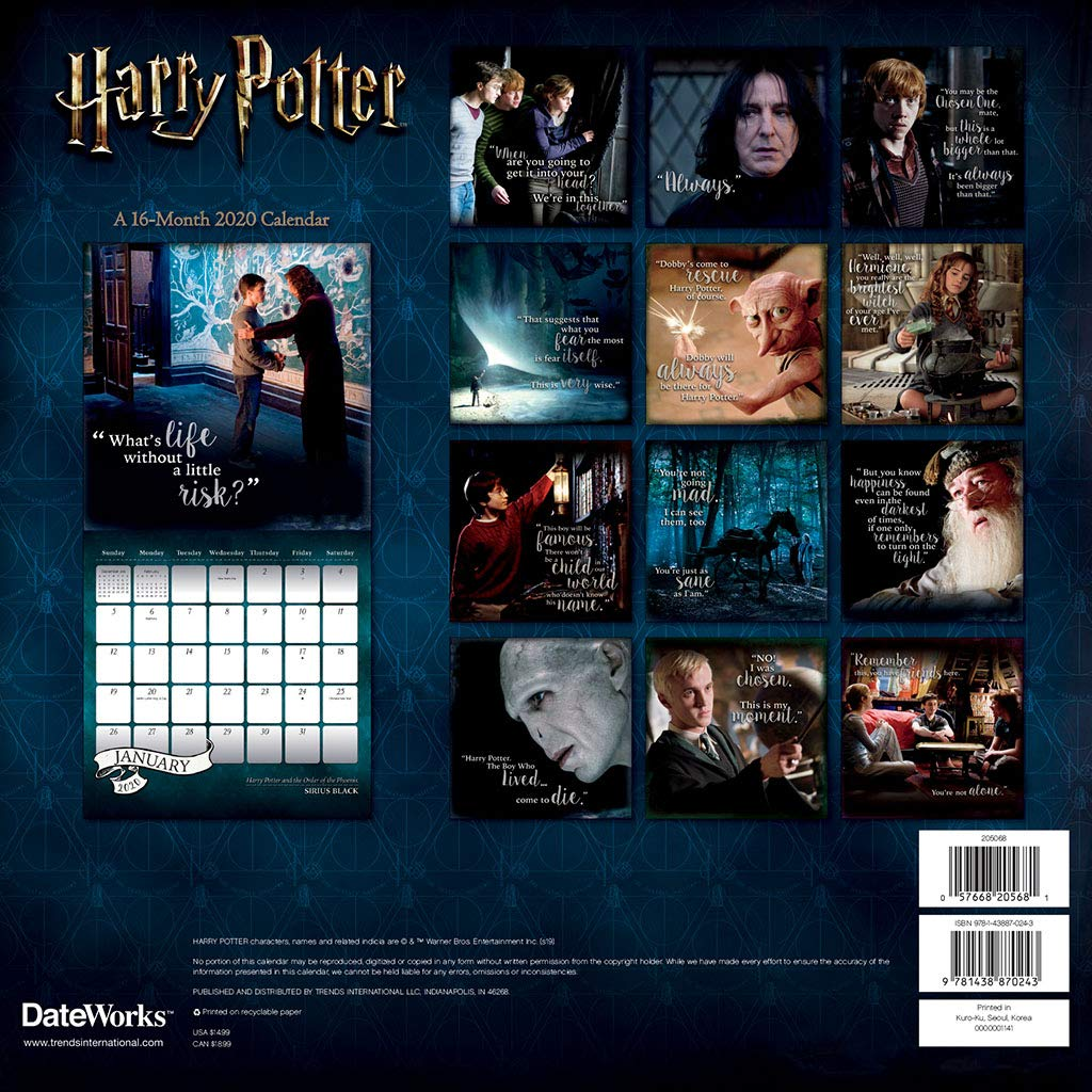 harry potter gifts 2020 calendar