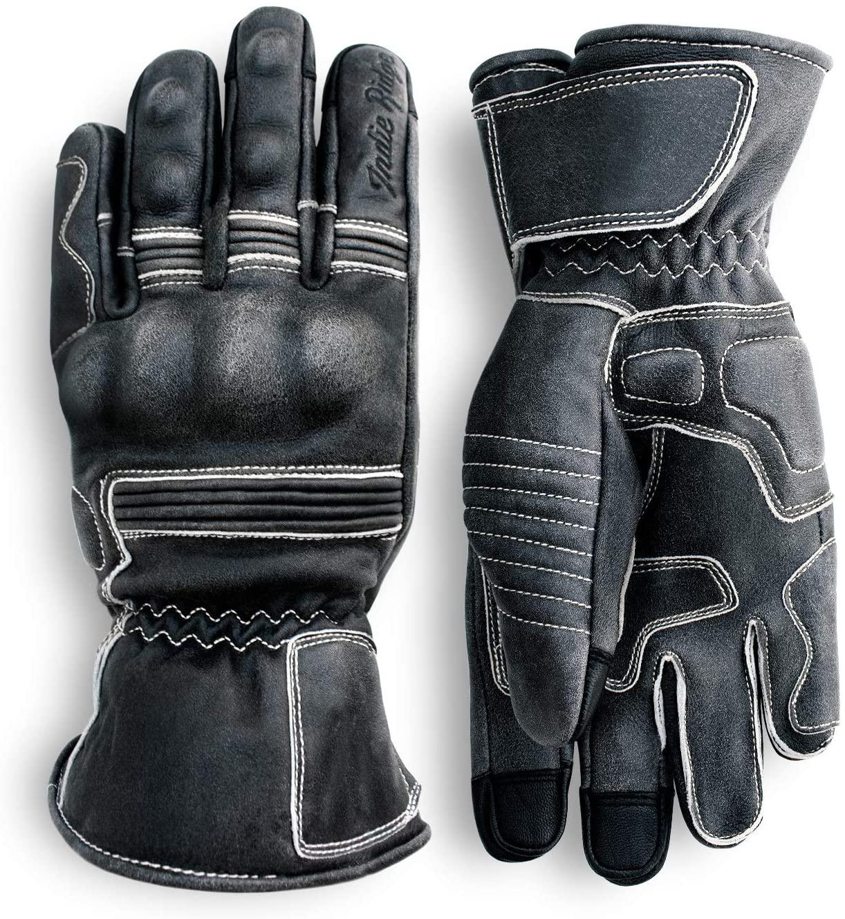 Indie Ridge Pre-Weathered Premium Leather Motorcycle Gloves