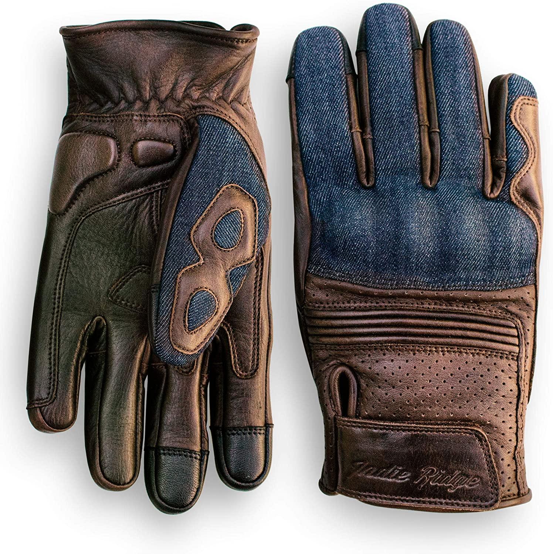 Indie Ridge Denim & Leather Motorcycle Gloves