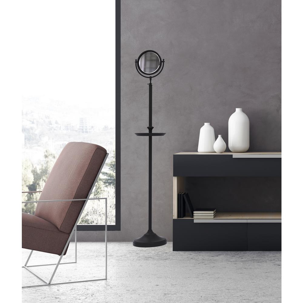Floor Standing Mirror and Shaving Tray in Satin Chrome by Allied Brass