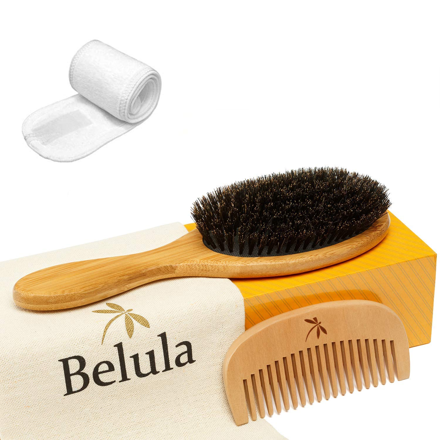 belula boar bristle hair brush on a box with a wooden comb and spa headband