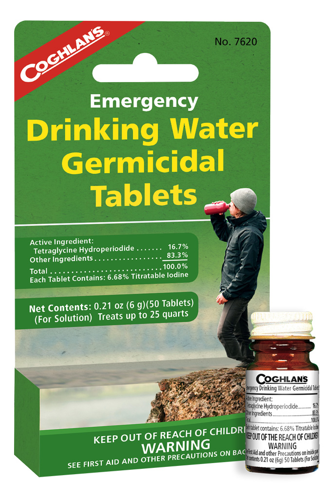 water purification tablets coghlans emergency drinking water tablets