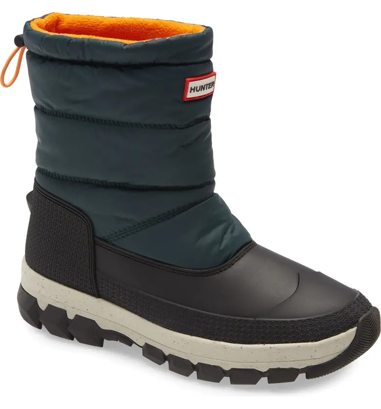 Hunter green and gray insulated snow boot