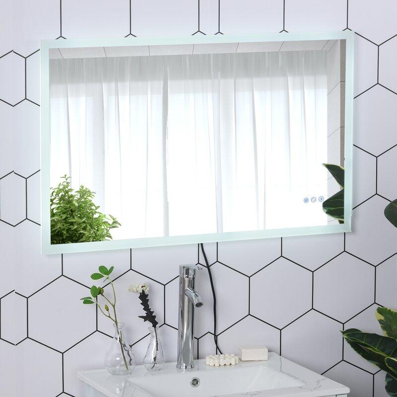 Obryant Frameless Lighted Magnifying Bathroom Mirror by Ivy Bronx