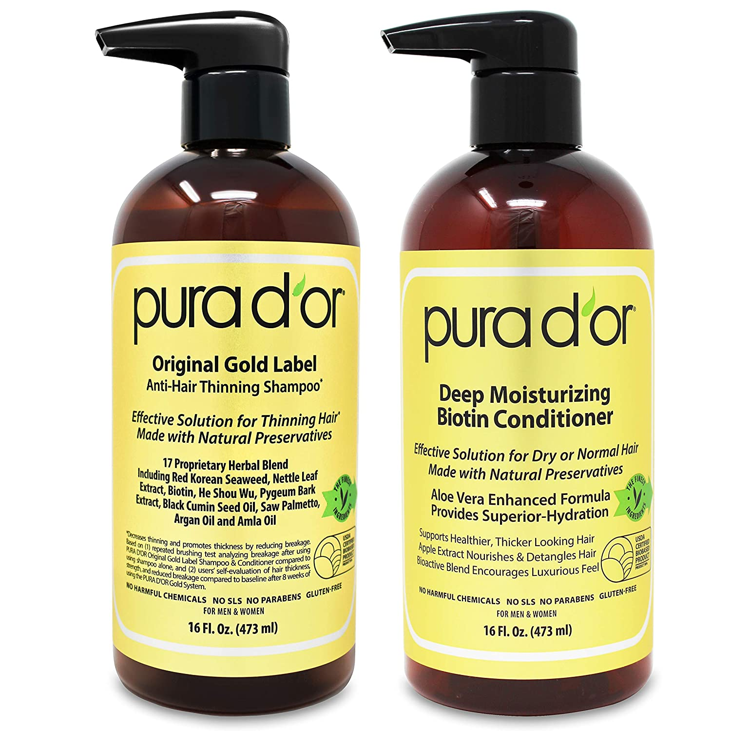 Two bottles of Pura d'Or Anti-hair thinning shampoo and deep moisturizing biotin conditioner, men's hair products