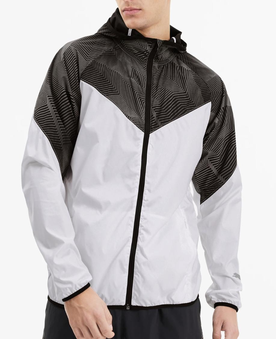white and black puma running jacket