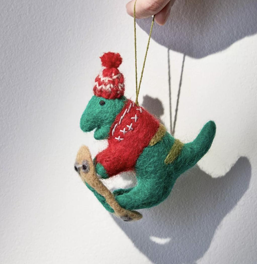 Skating Dinosaur Funny Christmas Tree Ornaments