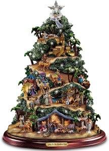 tabletop christmas trees thomas kinkake illuminated nativity