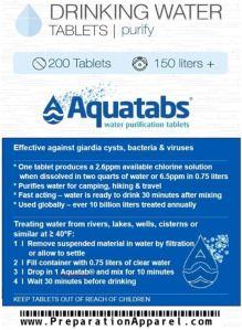 water purification tablet mightie aquatabs