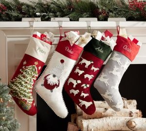 personalized christmas stockings pottery barn crewel