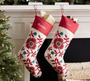 personalized christmas stockings quilted design