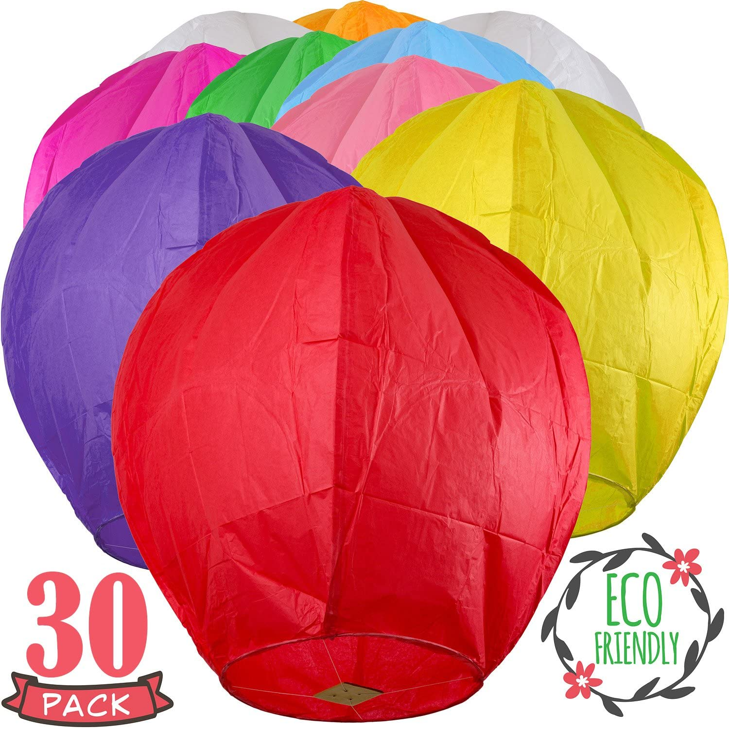 SKY HIGH 30 Pack Colorful Chinese Lanterns