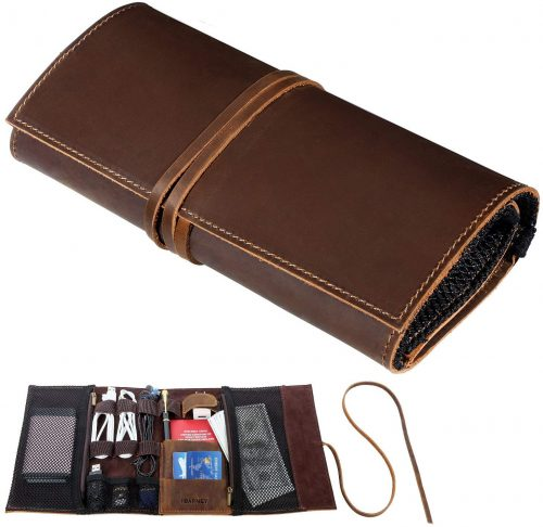 Barney Leather Electronics Organizer Roll