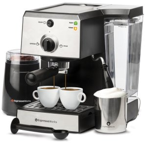 EspressoWorks 7 Pc All-In-One Espresso Machine & Cappuccino Maker
