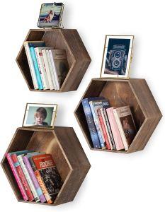 best floating bookshelves hexagon