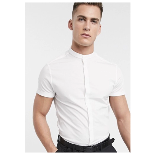 ASOS Short Sleeve Collarless Shirt
