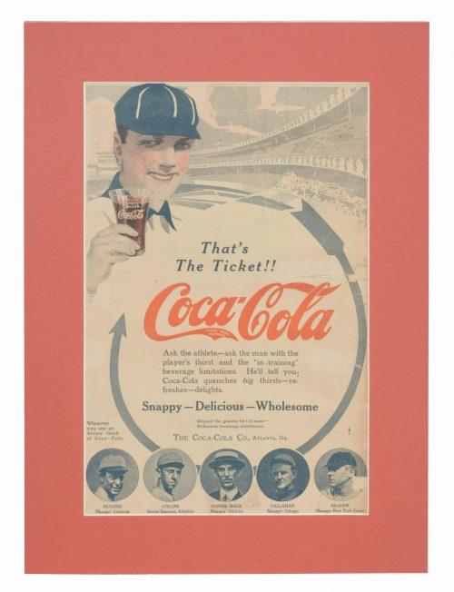 Vintage Coca-Cola Baseball Advertisement