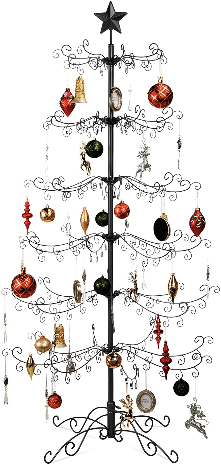 Best Choice Products Wrought Iron Ornament Display Christmas Tree