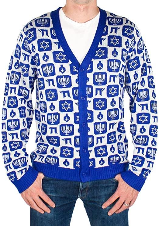 Men's ugly Hanukkah cardigan sweater