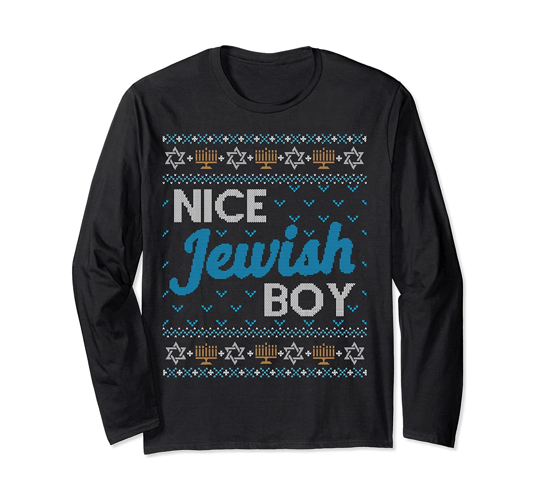 ugly Hanukkah sweater that says nice jewish boy on it