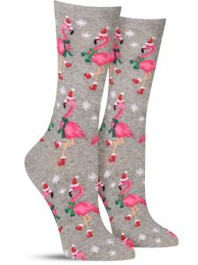 Christmas socks santa flamingoes