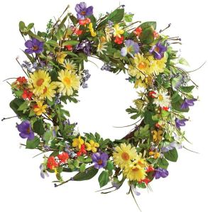 Collections Etc Wild Daisy Floral Twig Door Wreath