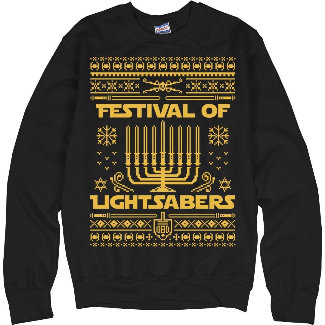 Star Wars Hanukkah sweater in black and gold