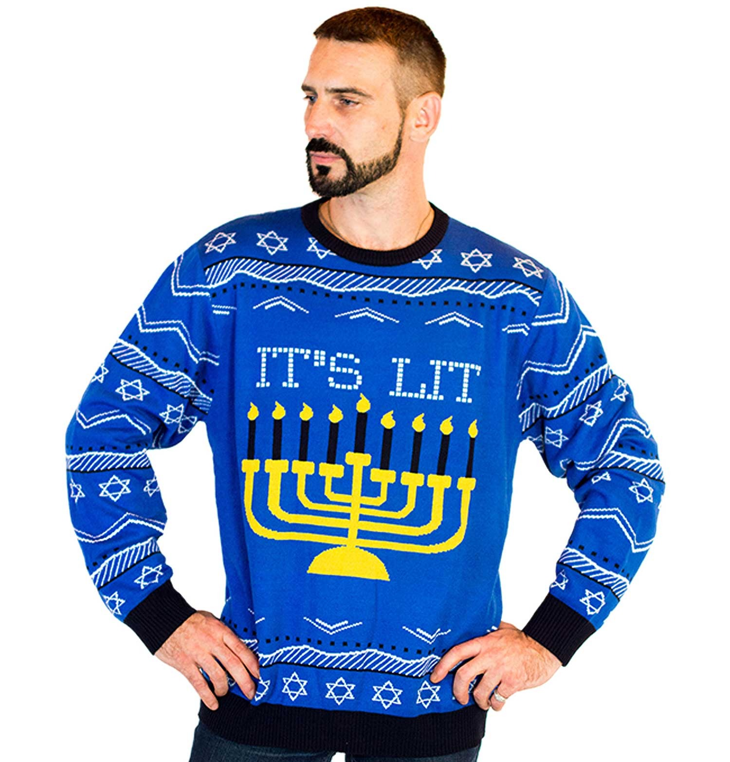 ugly Hanukkah sweater with menorah
